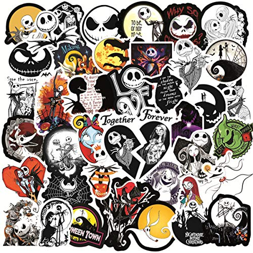 Halloween Theme Stickers Pack for Water Bottle,Waterproof Vinyl Stickers Perfect for Hydro Flask Laptop Phone Car Skateboard Travel Case Bicycle (50 Pcs) The Nightmare Before Christmas