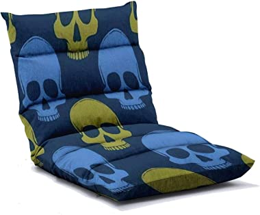 Floor Lounger Adjustable Floor Chair Seamless Pattern with Hand Drawn Skulls Vector Illustration Memory Foam Folding Floor So