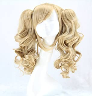 Alibuy Light Blonde Cosplay Wigs with Pigtails 17.7 Inch, Thick and Soft for Costume Party Hallowee
