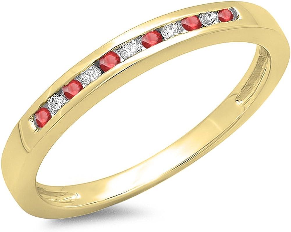 10K Minneapolis Mall Gold Round Ruby White Anniversary B Ranking TOP1 Wedding Diamond Ladies