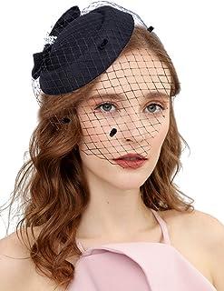 قبعة نسائية دائرية مستوحاة من موضة العشرينيات والخمسينيات لحفلات الشاي والكوكتيل مع وشاح للبنات والنساء