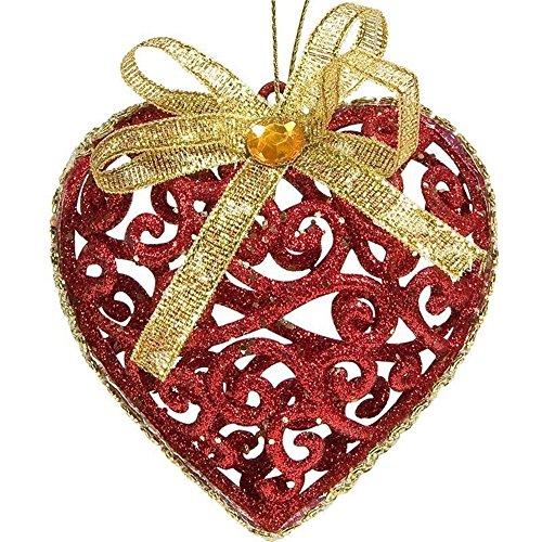 SSITG 6 st. Rood Goud Kerstmis hart kerstboomballen boomversiering kerstdecoratie glitz
