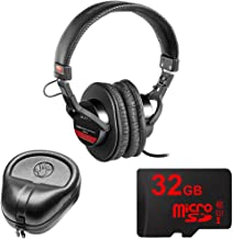 Sony Studio Monitor Headphones with CCAW Voice Coil (MDR-V6) with Slappa HardBody Headphone Case & 32GB MicroSD High-Speed Memory Card