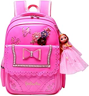 PU Pink Bow Girl School Bag Set Beautiful Nylon Waterproof Backpack Cute Girls Schoolbags Satchel Zhaozb (Color : Pink)