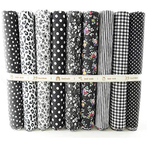 9Pieces 19.8 x 19.8inch (50cm x 50cm) 100% Cotton Fabric, Fat Quarters Fabric Bundles Patchwork Cloth Squares Sewing Supplies for DIY Craft Quilting Black