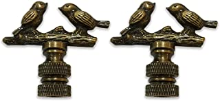 Royal Designs Birds on Tree Branch Lamp Finial for Lamp Shade- Antique Brass Set of 2