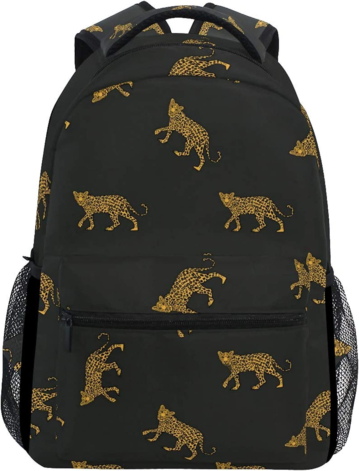 Leopard Covered in pink gold Large Backpack Travel Outdoor Sports Laptop Backpack for Women & Men College School Water Resistant