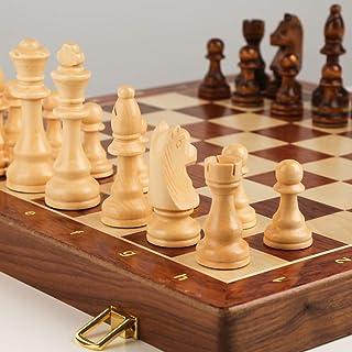 LAIDEPA Jeu d'échecs en Bois Professionnel, échiquier de Luxe Pliant Jeu Tactique Classique Jouets éducatifs Cadeau d'affa...