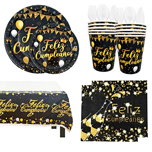 Vajilla Desechable para Cumpleaños de Adultos - Platos, Vasos, Tenedores, Cucharas, Cuchillos, Mantel y Servilletas - Accesorios para Decoración, Color Negro y Dorado - 16 Invitados(Kit Básico)