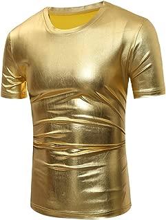 Men Metallic T Shirt Tee Slim Fit Round Neck Short Long Sleeve Fmk001
