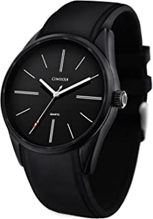 COMTEX Men's Fashion Minimalist Wrist Watch Analog Quartz with Black Silicon Sport Waterproof Band