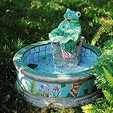 Glove Keramik Kleiner Gartenbrunnen, Frosch Lotusblatt Wasserbrunnen im Freien Patio Hof Handbemalte Accessoires Art Decor Statuen Grün 54x54x40cm (21x21x16inch)