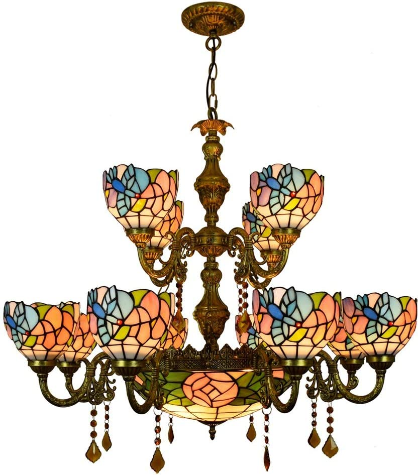 Stained Glass Bracket Direct store Lamp 12 Large Tiffany Chandelier Heads Cha Albuquerque Mall