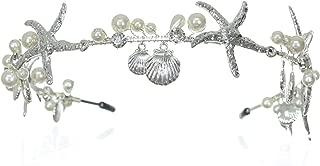 SAMKY Handmade Faux Pearl Starfish Sea Scallop Shell Beach Wedding Tiara - Silver T1236