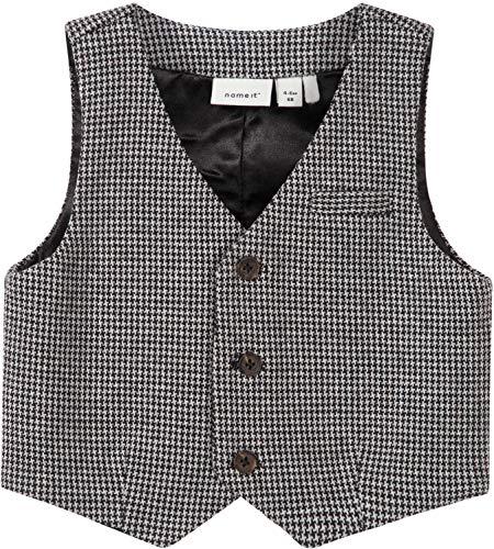NAME IT Baby Jungen Anzug-Weste festlich Taufkleidung NBMSEFISK, Größe:68, Farbe:Grey Melange
