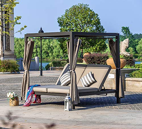 Moda Furnishings Outdoor Adjustable Daybed with Canopy Patio Steel Lounge Set