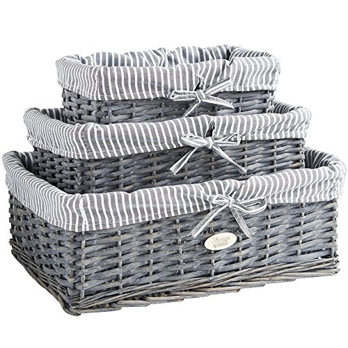VonHaus Wicker Seagrass Baskets Set Of 3 Grey Lined Shelf Storage Baskets Stackable Display Hamper Organiser Decorative Boxes For Shelves, Living Rooms, Bathroom