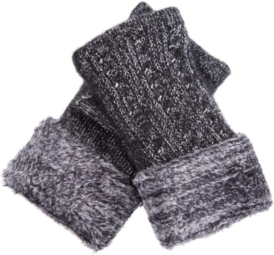 Women Winter Warm Knit Half Finger Flat Gloves Soft Stretch Fingerless Gloves Arm Warmers Mittens