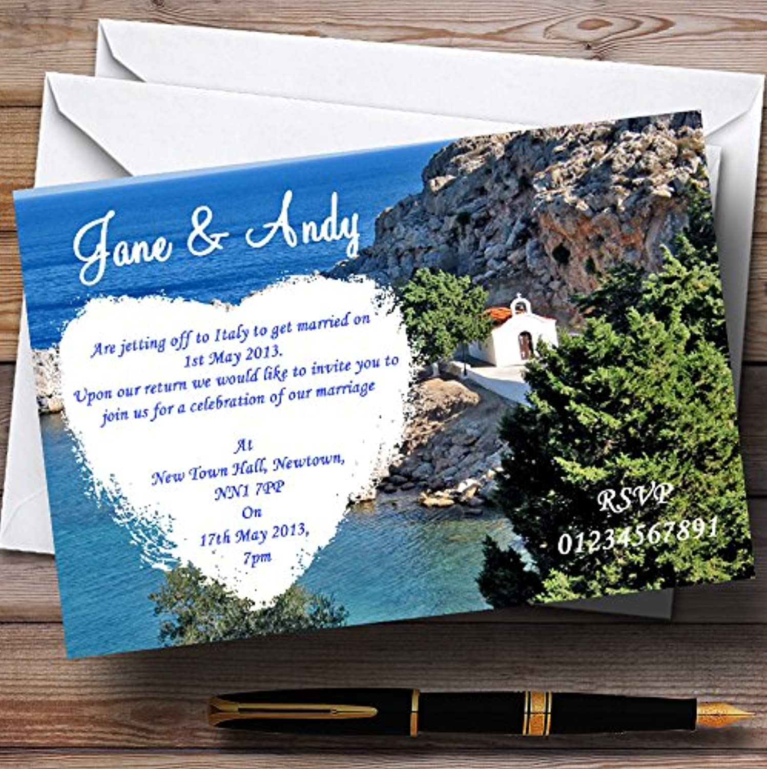 Heart St Pauls Lindos Rhodes Personalised Evening Reception Invitations   Invites & Envelopes