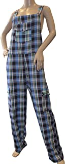 Shiva Federation Funky Chequered Cotton Combat Dungarees - Nepalese Brightly Coloured Dungarees