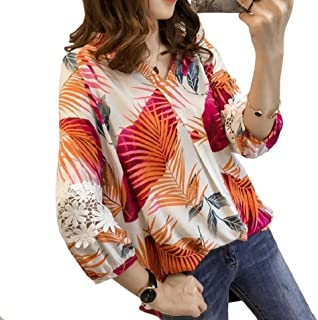 FXLM Women Holiday Beach Lace Stiching Printing Pullover Tunic Tops