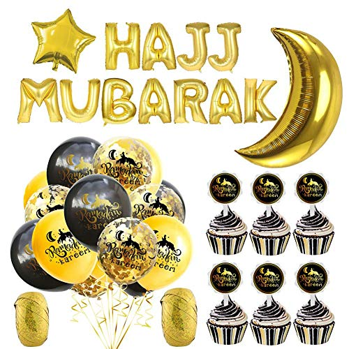 mooderff Eid Mubarak ballonnen, Ramadan Kareem Festival Party Decoratie Pailletten Ballon Festival Instelling