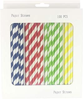 100 Pack Paper Straws-Biodegradable Assorted Color Stripe,Navy,Red,Green,Yellow Drinking Straw