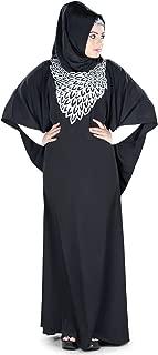 MyBatua Womens Kaftan Silver Embroidered Fancy Abaya Evening Gown Free Size Maxi Dress KF-020