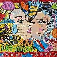 グラフィティストリートアートキャンバスプリント絵画抽象図壁画リビングルーム家の装飾ポスター 20x20cmx0011-5