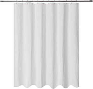 Short Shower Curtain with 66 inch Length Fabric, Waffle Weave, Hotel Collection, Water Repellent, Machine Washable, 230 GSM White Pique Pattern for Decorative Bathroom Curtain