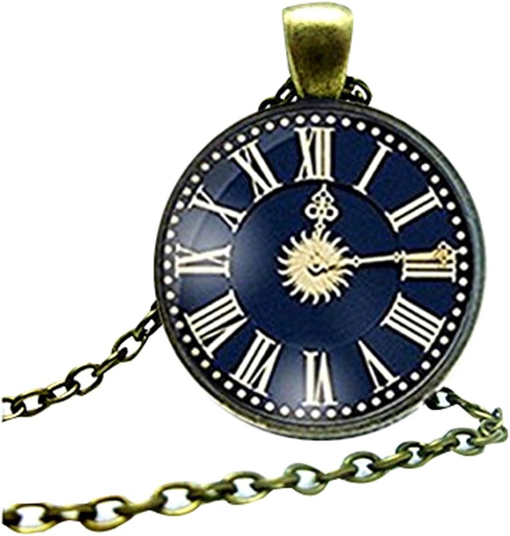 Reloj Vintage Cabujón Colgante Collar Bronce Antiguo Mujeres Vintage Cadena Collar
