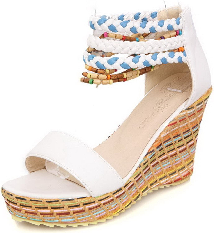 WeenFashion Women's High Heels Soft Material Assorted color Zipper Open Toe Sandals
