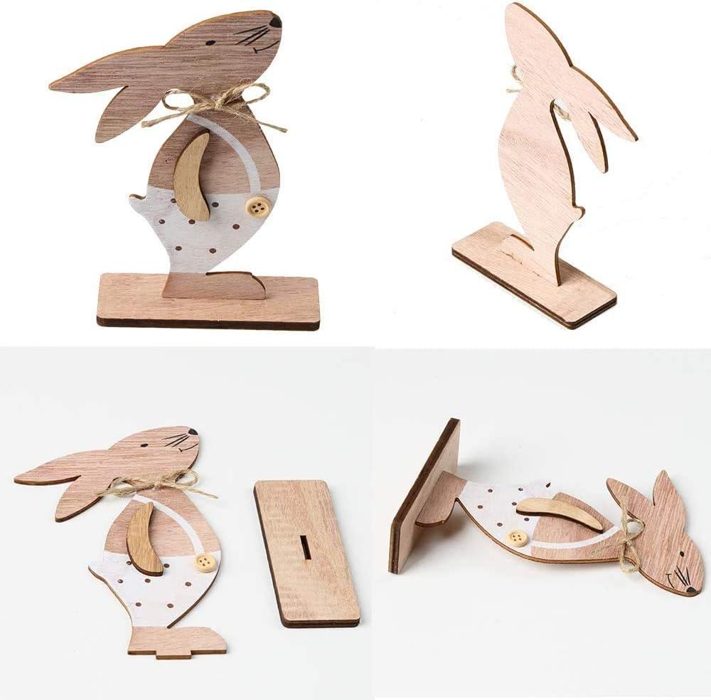 3 pi/èces Deco Paques Decoration P/âques Lapin en Bois pour Cadeau de p/âques d/écor Fournitures de f/ête A YQ D/écoration de P/âques Decoration de Paques Lapin
