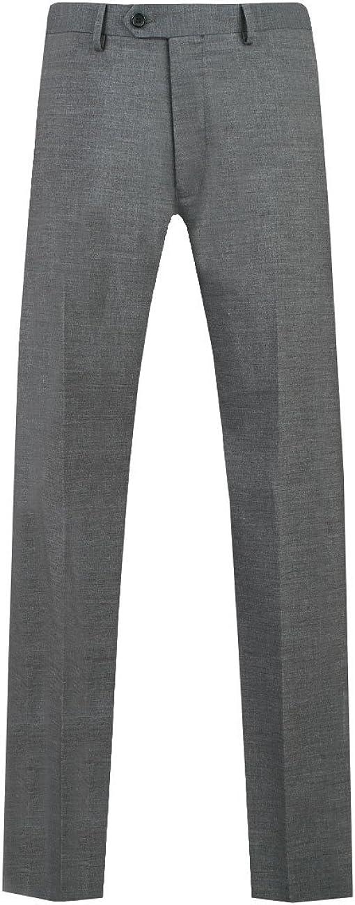 Dobell Mens Grey Sharkskin Suit Pants Regular Fit