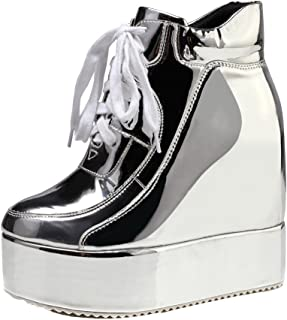 da3848345a07 getmorebeauty Womens Hidden High Heel Platform Sneakers Wedge Lace Up  Chelsea Punk Patent Ankle Boots