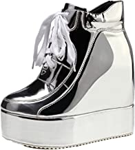 GETMOREBEAUTY Womens Hidden High Heel Platform Sneakers Wedge Lace Up Chelsea Punk Patent Ankle Boots