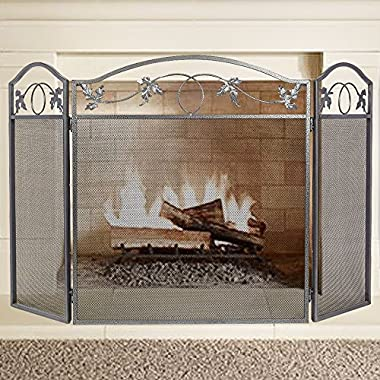 AMAGABELI GARDEN & HOME screen02 Amagabeli 3 Panel Pewter Wrought Iron Fireplace Screen