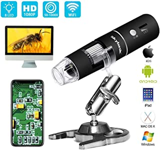 Skybasic Wifi デジタル 顕微鏡 2MP 50-1000倍 電子顕微鏡 拡大鏡 内視鏡 8 LED IOS Android Windows対応 肌チェック/生物観察/細かい部品チェック実験に 【日本語説明書/1年間保証付き】