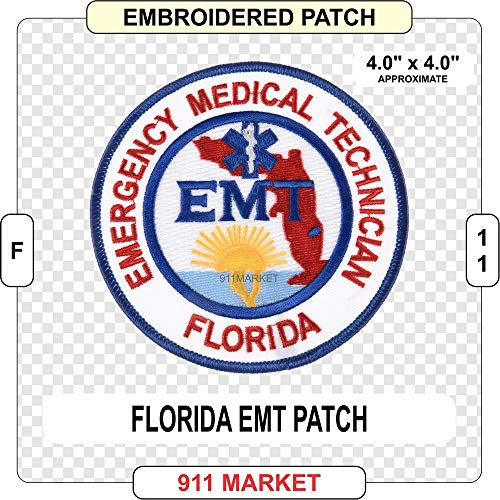 Florida EMT Patch Embroidered FL Emergency Medical Technician Badge - F 11