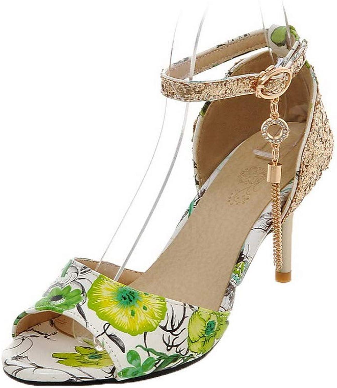 WeiPoot Women's Buckle Kitten-Heels PU Assorted color Open-Toe Sandals