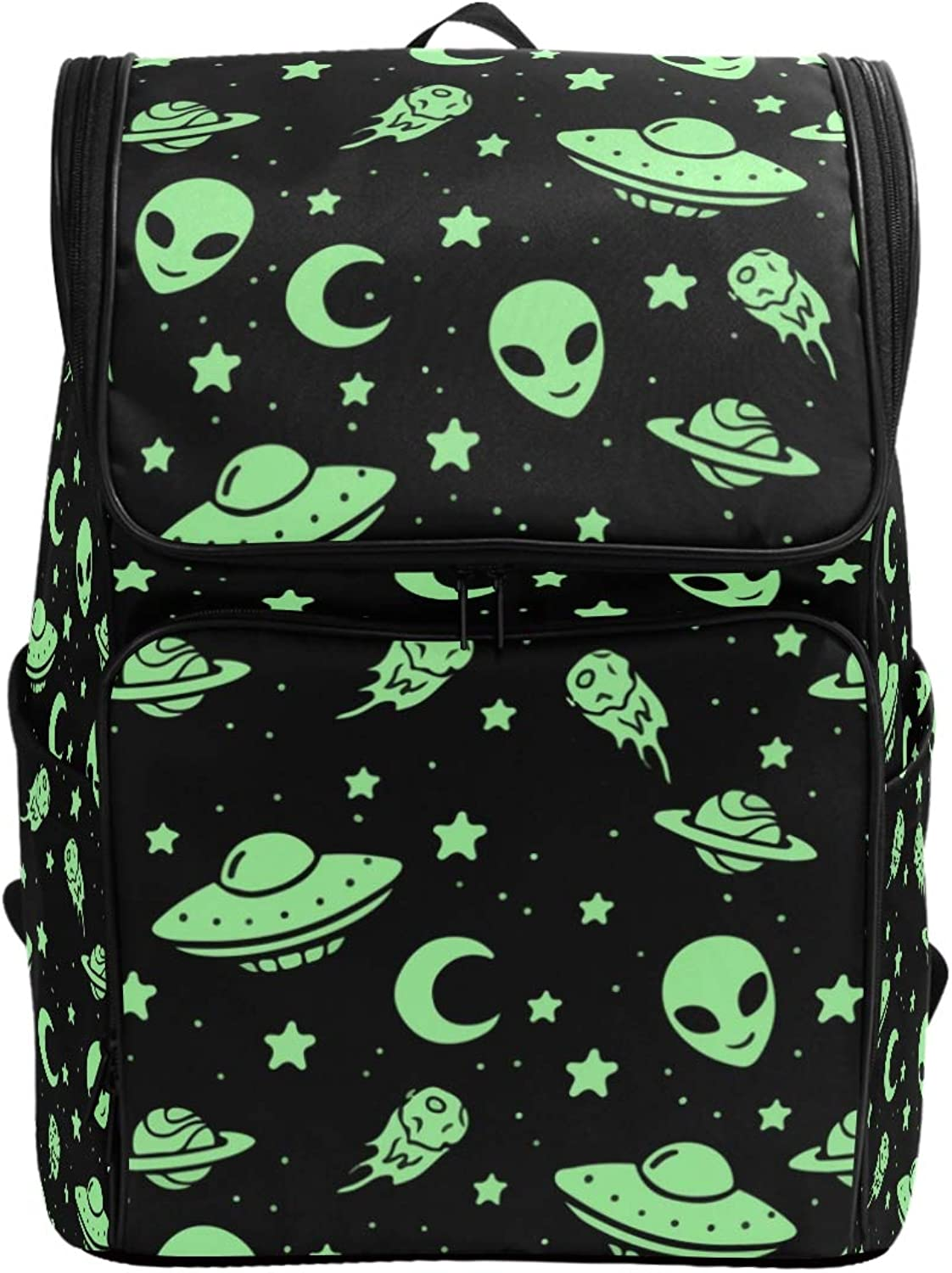 FANTAZIO Green Alien UFO Moon Laptop Outdoor Backpack Travel Hiking Camping Rucksack Pack, Casual Large College School Daypack