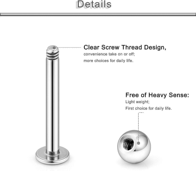 Yaalozei 18PCS 16G Stainless Steel Labret Monroe Lip Ring Tragus Helix Cartilage Earring Stud Barbell Body Piercing Jewelry Bar Length 8-12mm