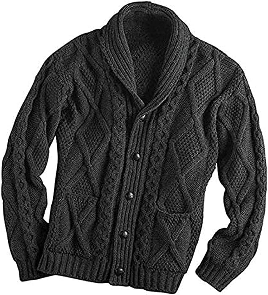 Irish Aran Knitwear 100% Irish Merino Wool Men's Shawl Neck Cardigan Sweater with Pockets | Made in Ireland