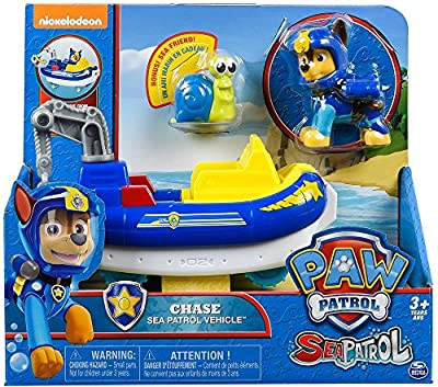 PAW Patrol Sea Patrol - Chase's Transforming Vehicle + Bonus Sea Friend de Spin Master