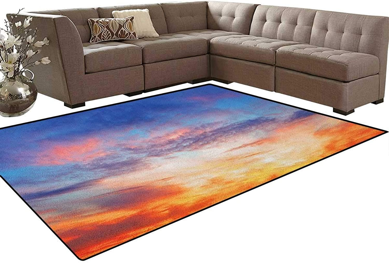 colorful Vivid Illuminated Evening Sky During Sunset Cloudscape Scenic View Floor Mat Rug Indoor Front Door Kitchen and Living Room Bedroom Mats Rubber Non Slip