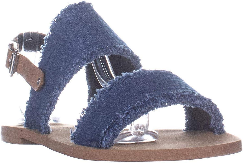Rebecca Minkoff Emery Slingback Flat Sandals, Light bluee Natural Denim