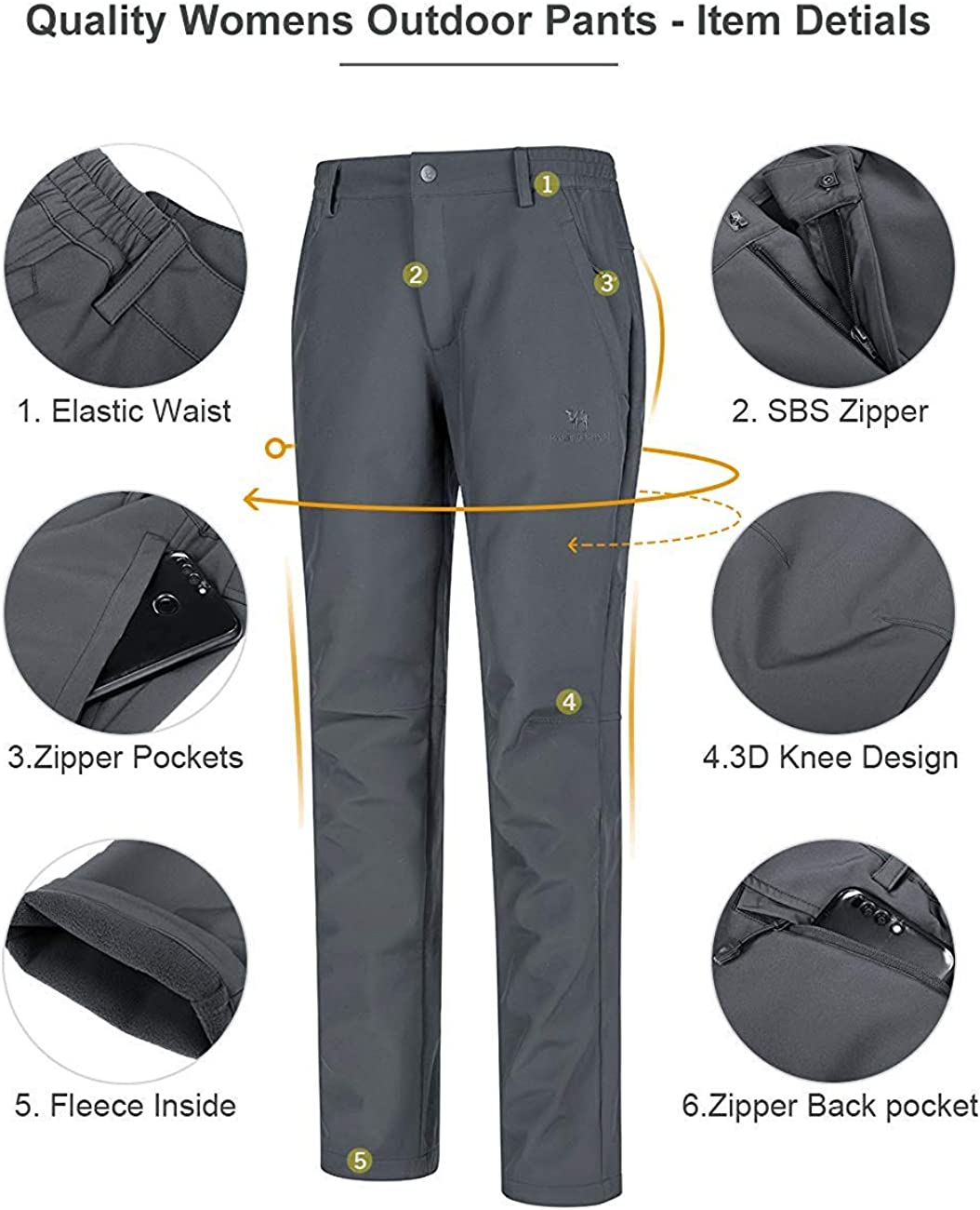 CAMEL CROWN Womens Softshell Pants Waterproof Fleece Lined Warm Hiking Sking Pants Winter Insulated Trousers