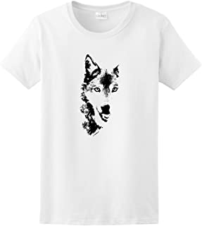 Wolf Face Shadow Sketch Wolves Ladies T-Shirt