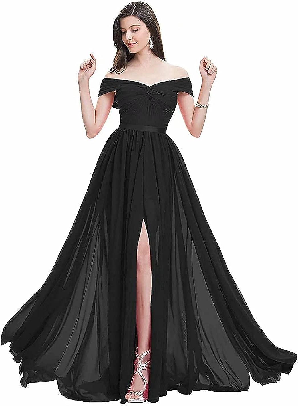 BTgirl Women's Off Shoulder Bridesmaid Dresses with Slit A Line Chiffon Long Formal Evening Dresses