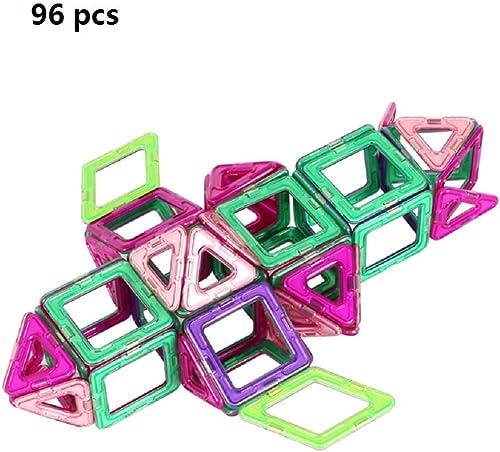 Blocs de construction magnétiques jouet Set 96pcs en plastique tige magnétique enfants mini puzzle bricolage puzzles de construction tuiles empilage aihommet Creative adultes blocs de construction